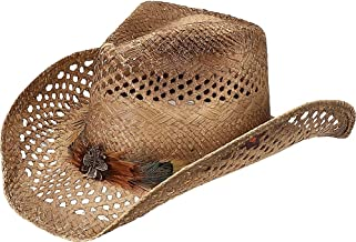 Peter Grimm Ltd Women's Shawnee Feather Hat Band Straw Cowgirl Brown One Size