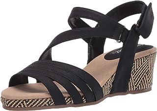 Easy Street womens Espadrille Wedge Sandal, Black, 7 Wide US