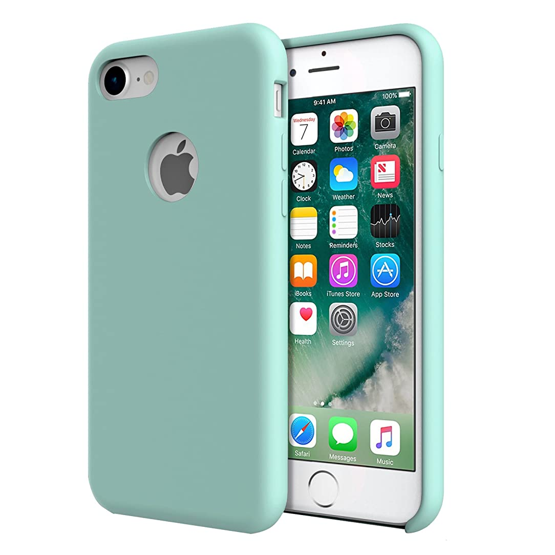 For iPhone 7 Case - MoKo Slim Fit Shockproof Liquid Silicone Gel Rubber Protective Case Soft Touch Back Cover for Apple iPhone 7 2016, Sea Blue (Mint Green)