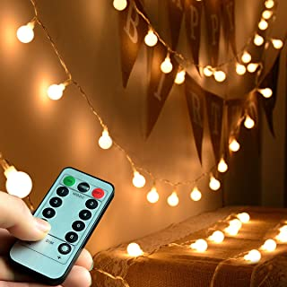 Abkshine Battery Operated Fairy Light, Battery Powered Globe Lights for Wedding Christmas Tree Decoration(Warm White,50LEDs)