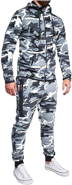 BEUU Max 50% OFF Men's Deluxe Camouflage Sweat Suits Sweatshirts Jogger Sweatpant
