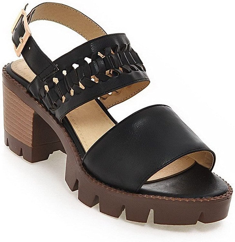 Ompson Women's Soft Material Buckle Open Toe Kitten-Heels Solid Sandals