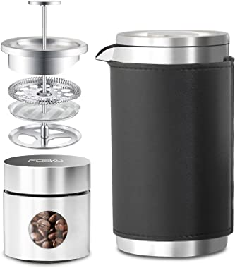 FOSKU French Press Coffee Maker Set, Stainless Steel Camping Coffee Press and Coffee Canister with Travel Tote Bag, Single Se