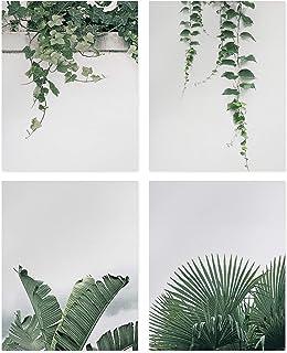 Set de 4 Affiches d'art Mural Plante Feuilles Vertes,Nature Plante Art Poster,Impression sur Toile Verte Feuilles Tropical...