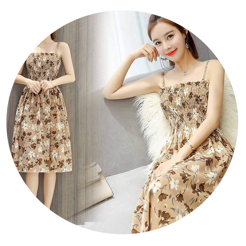 夏の韓国スリム花柄の小さな新鮮な新鮮なチューブトップスリムストラップドレスの女性