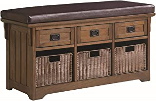 Coaster Home Furnishings Coaster Traditional Storage Bench with Baskets, Medium Brown