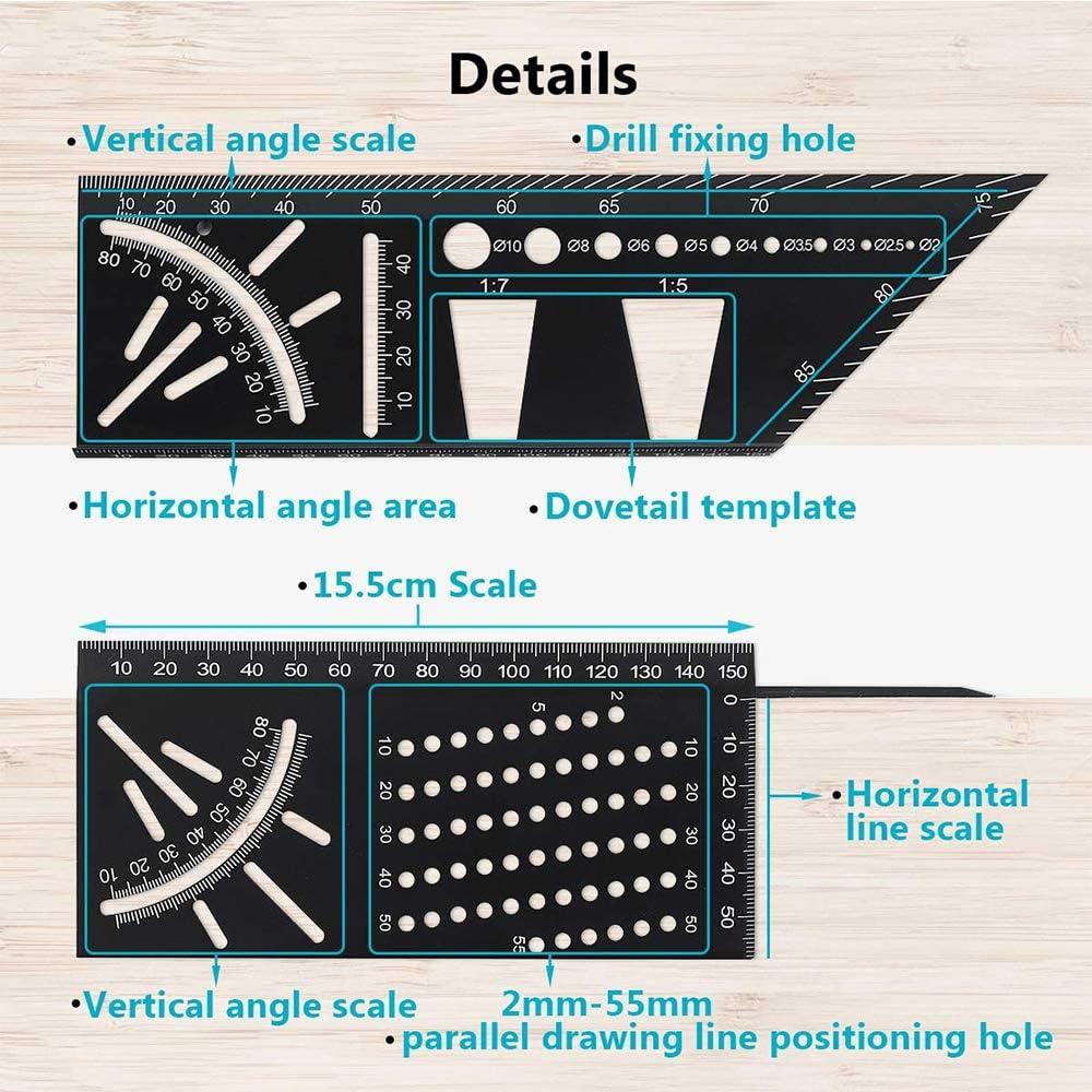 Regla cuadrada de carpintero de carpinter/ía 3D regla de /ángulo pr/áctica de usos m/últiples para carpinter/ía herramienta de medici/ón de /ángulo de inglete 3D azul