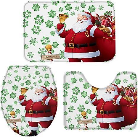 3 x Christmas Style Non-Slip Bathmat Toilet Lid Cover Bathroom Decor Santa Claus