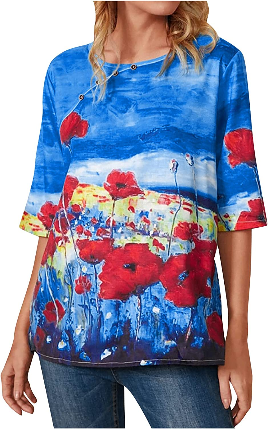 Cute Tops for Women Summer Casual 3D Butterfly Flower Print Round Neck Half Sleeve Blouses Tee Fashion T Shirts