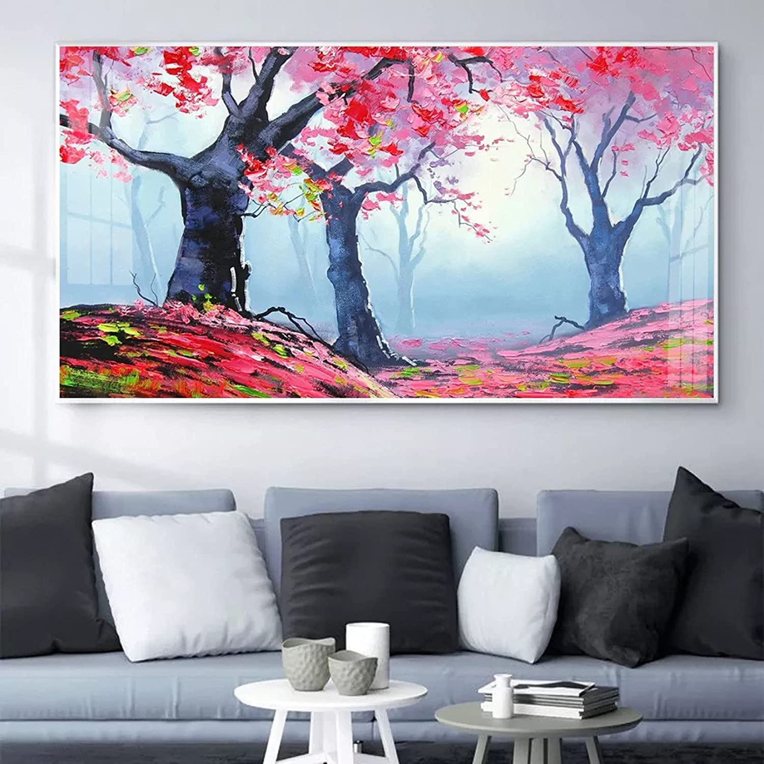 YYBFQZ Canvas Art Poster Nordic Oil San Jose Mall Lea Painting 5 ☆ very popular Maple Landscape