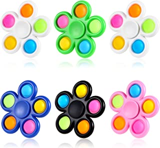 GOHEYI 6 Pack Pop Fidget Spinners, Push Bubble Fidget Spinner, Party Favor Sensory Simple Fidget Toys, Fidget Pack Hand Sp...