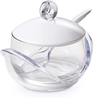Cheese or sugar bowl with transparent glass container, base, lid and plastic spoon White, ergonomic and with an innovative design, Trendy line by Omadadesign