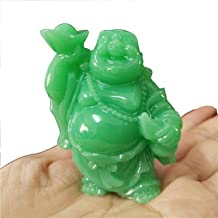 1pcs Glowing Laughing Buddha Statue, Chinese Feng Shui Money Maitreya Buddha Sculpture, Man-Made Jade Stone Figurines for ...