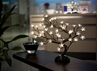 LIGHTSHARE 16Inch 36LED Cherry Blossom Bonsai Light, Warm White,Battery Powered and Plug-in DC...