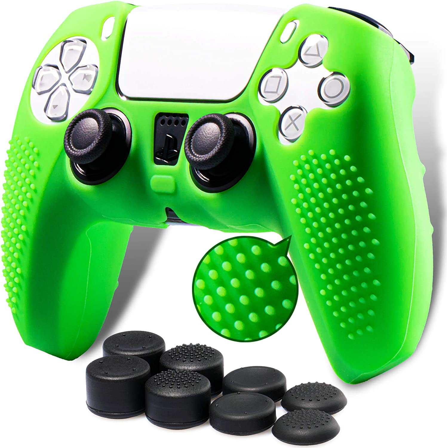 Playrealm Soft 3D Dots Silicone Skin Cover x 1  Thumb Grips x 8