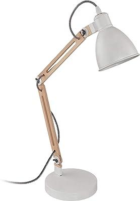 Tomons Lámpara de Escritorio de Madera, Lámpara de Mesa de Diseño, Lámparas de Lectura, Lámpara de Estudio, Lámpara de Trabajo, Lámpara de Oficina, Lámpara de noche de cabecera, bombilla LED, Negro: Amazon.es: