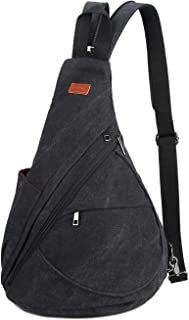 BAOSHA Canvas Sling Bag Small Crossbody Backpack Shoulder Casual Daypack Outdoor Cycling Hiking Travel XB-10 (Black)