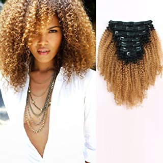 AmazingBeauty 8A Grade 3C 4A Big Afro Kinkys Curly Ombre Hair Extensions Double Weft Real Remy Human Hair for African American, Natural Black Fading into Caramel Blonde Two Tone Color TN-27, 18 Inch