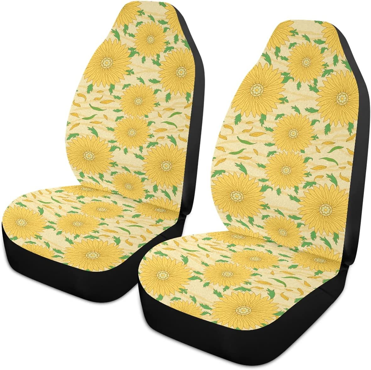 Oarencol Sunflower Car Seat Covers Max 55% Direct sale of manufacturer OFF Pattern Yellow Flowers Stripe