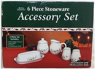Royal Seasons Holly Berry 6pc Stoneware Tabletop Set - Salt Pepper Sugar Creamer Butter No. 592243