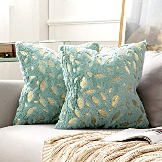 MIULEE Pack of 2 Decorative Throw Pillow Covers Plush Faux Fur with Gold Feathers Gilding Leaves Cushion Covers Cases Soft...