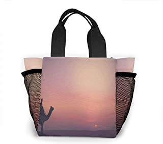 Reusable Grocery Bags Camel Sunset Desert Small Tote Bag Lunch Bag for Women