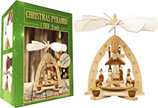 USA SUPREME Christmas Decoration German Pyramid - 9 Inches - Wood Nativity Scene Play Set - Table Top Holiday Decor - Nativity Play Carousel with 4 Candle Holders - German Design (9 Inches, Natural)