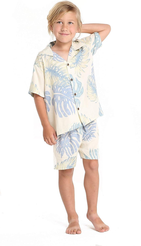 Boy Hawaiian Shirt or Cabana Set in Palm Leaves in Cream