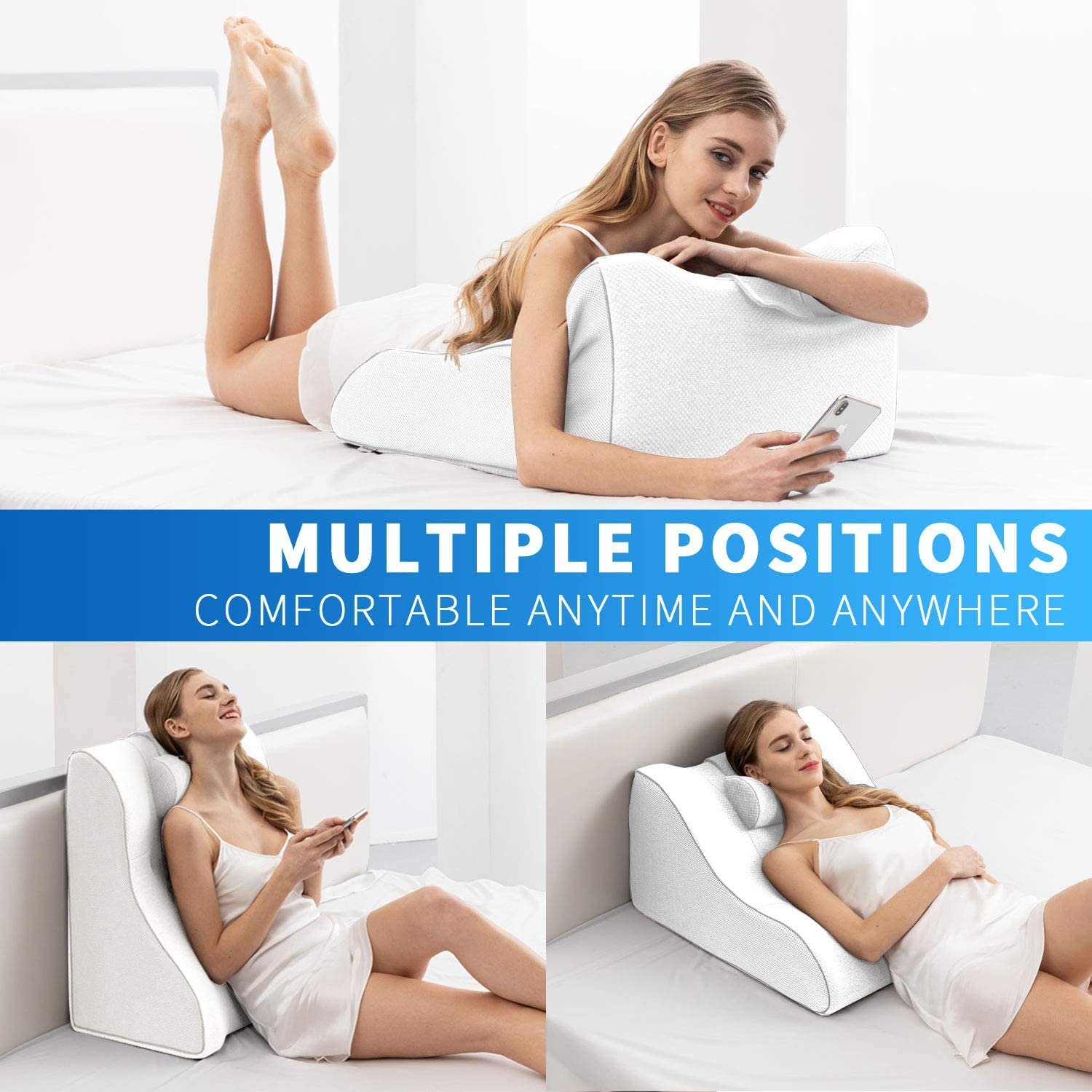 Pregnant Snoring 2 in 1 Back Support Cushion for Office Workers Elderly and More Orthopedic Incline Pillow for Relieving Lower Back Pain TESENAI Memory Foam Wedge Pillow Acid Reflux