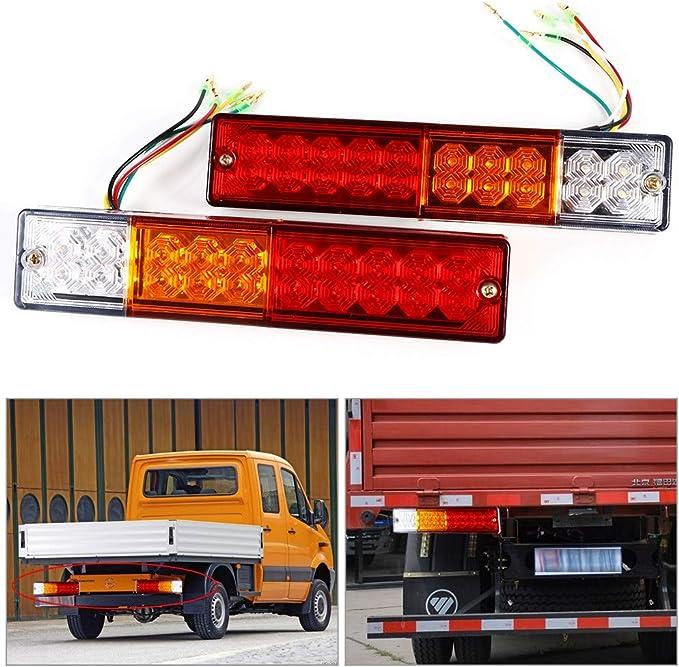 YDong 1 Coppia 12V Luci Posteriori fanali Posteriori 5 funzioni Trailer Caravan Truck Van 46 LED