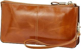 Lecxci Luxury Womens Genuine Leather Clutch Cell Phone Handbags, Zipper Wristlets RFID Blocking Wallets Purse for Women