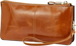 Luxury Womens Genuine Leather Clutch Cell Phone Handbags, Zipper Wristlets RFID Blocking Wallets Purse for Women