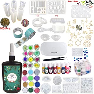 UV Epoxy Resin Crystal Clear Transparent Starter Kit 24 Moulds 17 Bezels & Pigments & Glitters & Embellishments & Tools & Lamp for Pendants Charms Earrings Rings Bracelets Diamonds Jewellery Making