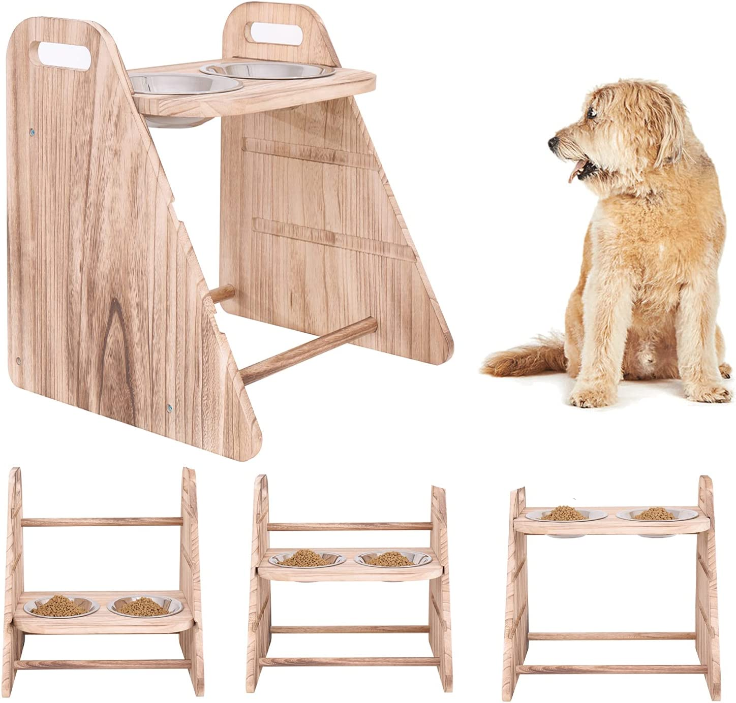 Elevated Dog Bowls Feeder, Large Raised Dog Bowls Stand with 2 Stainless Steel Bowls,Adjustable 3 Heights Dog Cat Stand Feeder,Rustic Wood Pet Food Water Dishes Bowls.