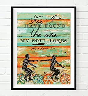 For I Have Found the One My Soul Loves, Danny Phillips Unframed Art Print, Songs of Solomon 3:4, Biking Bicycle Cycling Wall Decor Poster Wedding Engagement Anniversary Gift for Her, 5x7 inches