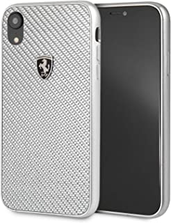 CG Mobile Ferrari iPhone Xr Case Cell Phone Carbon Fiber | Easily Accessible Ports | Officially Licensed. (Silver)