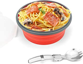 CCyanzi 1200ml Collapsible Camping Bowl Silicone Food Storage Container with Lid and Foldable Stainless Steel Fork Spoon, ...