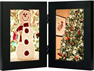 Golden State Art, Decorative Hinged Table Desk Top Picture Photo Frame, 2 Vertical Openings, 4x6 inches with Real Glass (4x6 Double, Black)
