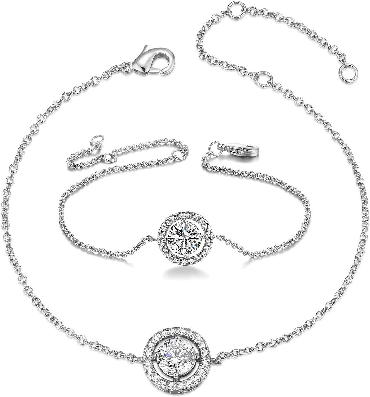 TENGTENGFIT 10.5mm Cubic Zirconia Round Necklace Ear Halo Quality inspection Save money Stud