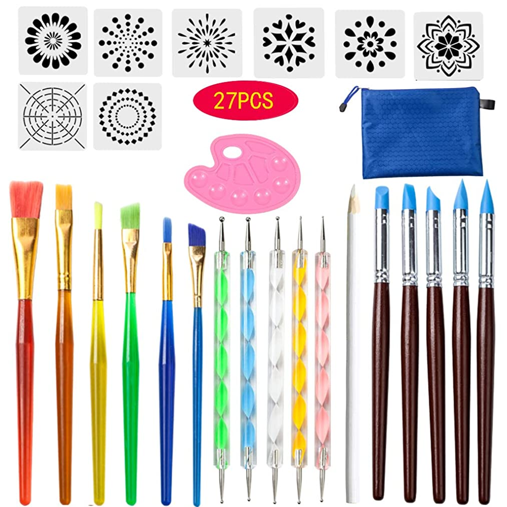 27 PCS Mandala Dotting Tools Stencil Set, Dotting Tools, Brushes and Paint Tray for Painting Rocks Drawing & Drafting, Kids' Crafts, Nail Art, Painting (27)