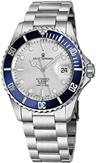 Revue Thommen Mens Automatic Diver Watch - 42mm Analog Silver Face Diving Watch with Luminous Hands, Date and Sapphire Crystal - Stainless Steel Metal Band Swiss Made Waterproof Dive Watch 17571.2125