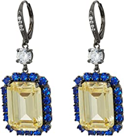 Haloed Emerald Cut CZ Drop Earrings