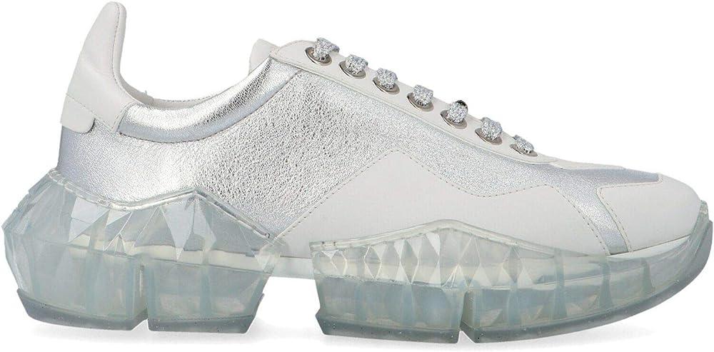 Jimmy choo luxury fashion ,sneakers per donna,in vera pelle al 100% DIAMONDFLAKSILVERWHITE