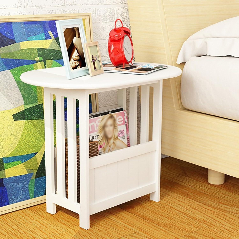 ZJM- Side Cabinet Folding End Table Side Table Simple Living Room Mini Storage Rack desk White ( color   Varnish )