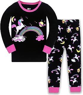 HommyFine Bambine Pigiama per Bambine e Ragazze 2 Pezzi Pigiama a Maniche Lunghe per Ragazze Unicorno Pajama Set per Bambi...