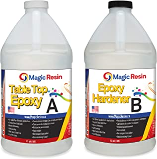 Magic Resin   1 Gallon (3.8 L)   Premium Quality Clear Epoxy Resin Kit   Non-Toxic, Odor Free   High Gloss Thick Clear Coat   for Table Tops, Bar Tops, Counter Tops, Artworks   Great Color Stability
