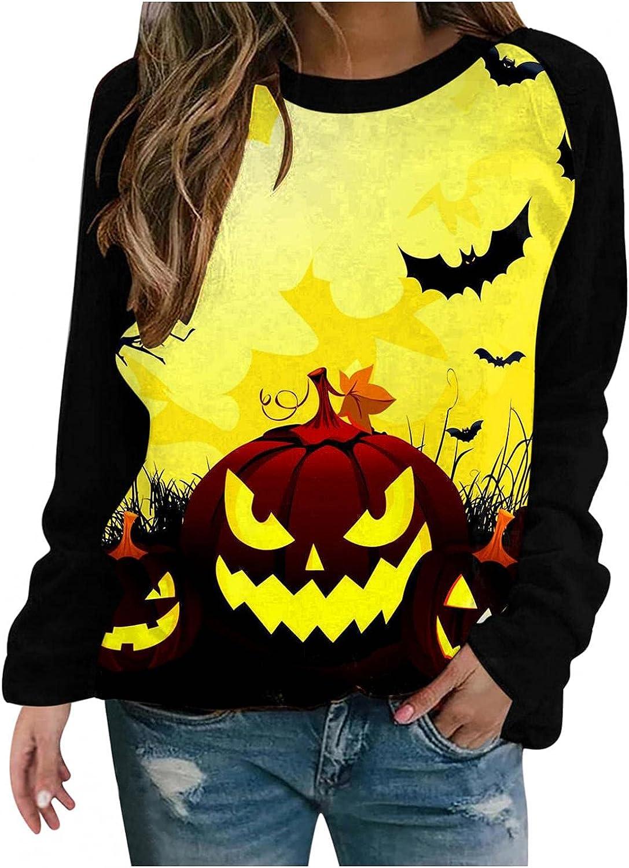 Halloween Crewneck Sweatshirt for Women Washington Mall Tunic Long Limited time cheap sale Casual Sleeve