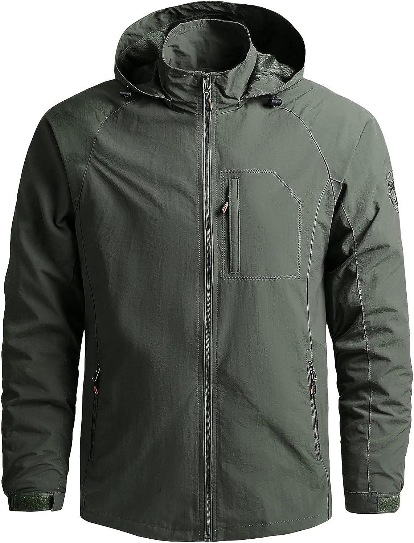 NRUTUP Men's Rain Jacket Waterproof with Hooded Solid Color Hiking Coat Lightweight Windbreaker Comfy Fit Outwear Tops