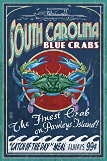 Pawleys Island, South Carolina - Blue Crabs Vintage Sign (12x18 Fine Art Print, Home Wall Decor Artwork Poster)