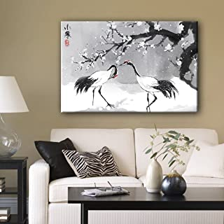 wall26 Canvas Wall Art - Chinese Ink Painting of Cranes in Snow with Plum Blossom in Winter - Giclee Print Gallery Wrap Modern Home Decor Ready to Hang - 32x48 inches